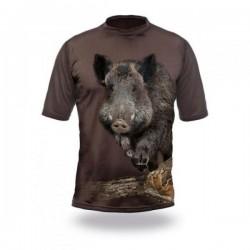 T-Shirt sanglier vert manches courtes