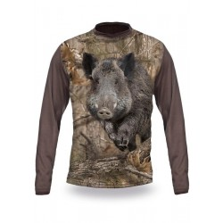 T-Shirt sanglier camo manches longues